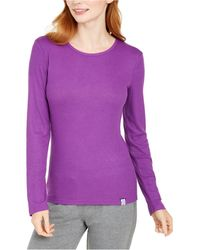 Vera Bradley Ribbed Skinny-fit Layering Pyjama T-shirt, Online Only - Purple