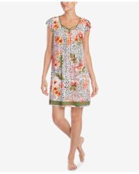 Ellen Tracy - Flutter-sleeve Floral-print Nightgown - Lyst