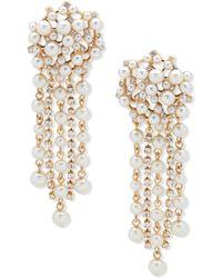 Anne Klein - Gold-tone Imitation Pearl Tassel Linear Earrings - Lyst