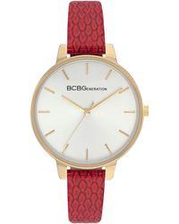 BCBGeneration Ladies 3 Hands Slim Red Genuine Leather Strap Watch, 36 Mm Case