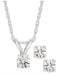 Macy's | Round-cut Diamond Pendant Necklace And Earrings Set In 10k Gold (1/6 Ct. T.w.) | Lyst