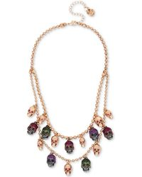 Betsey Johnson | Two-tone Multi-stone & Glitter Skull Double-layer Necklace | Lyst