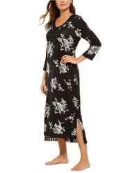 Charter Club Floral-print Long Nightgown, Created For Macy's - Black