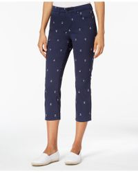Charter Club Anchor Embroidered Capri Pants, Created For Macy's - Blue