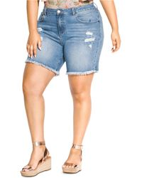 City Chic Trendy Plus Size Distressed Jean Shorts - Blue