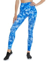 K-DEER Printed Double-pocket 7/8-sneaker-length Leggings - Blue