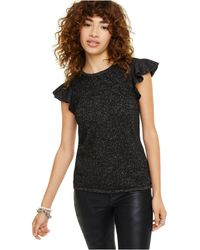 Charter Club Lurex Cashmere Ruffle Cap-sleeve Top, Created For Macy's - Black