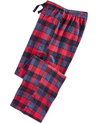 Perry Ellis Large-plaid Flannel Pajama Pants - Blue