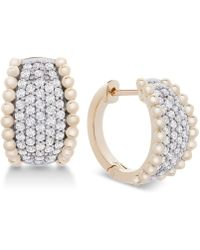 Macy's - Wrapped In Lovetm Diamond Pavé Beaded Hoop Earrings (1 Ct. T.w.) In 14k Gold, Created For - Lyst