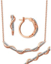 Macy's - Diamond Accent Wavy Hoop Earrings, Collar Necklace And Link Bracelet Set In 18k Rose Gold Over Silver-plate - Lyst