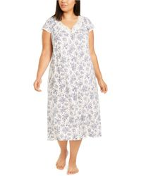 Charter Club Plus Size Lace-trim Floral-print Nightgown, Created For Macy's - Multicolor