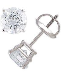 Macy's - Certified Diamond Stud Earrings (2 Ct. T.w.) In 14k Gold - Lyst