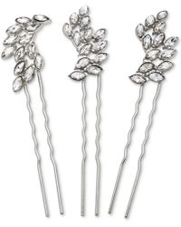 Badgley Mischka - Silver-tone 3-pc. Set Crystal Hair Pins - Lyst