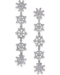 INC International Concepts Inc Silver-tone Crystal Snowflake Linear Drop Earrings, Created For Macy's - Metallic