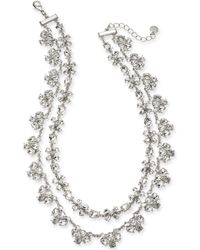 """Charter Club - Silver-tone Crystal Two-row Statement Necklace, 18"""" + 2"""" Extender, Created For Macy's - Lyst"""