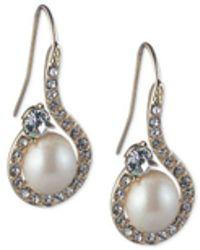 Carolee - Gold-tone Imitation Pearl & Crystal Swirl Drop Earrings - Lyst