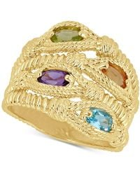 Macy's - Multi-gemstone Rope Statement Ring (1 Ct. T.w.) In 14k Gold-plated Sterling Silver - Lyst