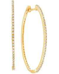 "Macy's Diamond Medium Skinny Hoop Earrings (1/5 Ct. T.w.) In 10k Gold, 1.3"" - Metallic"