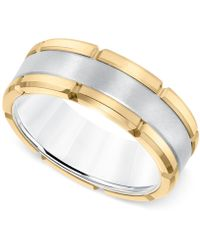 Macy's - Comfort-fit Band (8mm) In Yellow And White Tungsten Carbide - Lyst