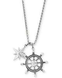 Effy Collection - Men's Ship's Wheel And Star Pendant Necklace In Sterling Silver - Lyst