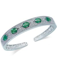 Macy's - Emerald (5 Ct. T.w.) And White Sapphire (1 Ct. T.w.) Bangle Bracelet In Sterling Silver - Lyst