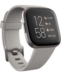 Fitbit Versa 2 Mist Grey Elastomer Strap Touchscreen Smart Watch 39mm - Gray