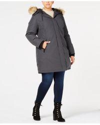 Vince Camuto - Plus Size Faux-fur-trim Hooded Parka - Lyst