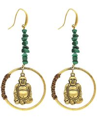 1928 T.r.u. By 14 K Gold Dipped Hoop Earring With Suspended Buddha And Semi-precious Malachite - Green