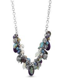 Catherine Malandrino - Multicolored Rhinestone Silver-tone Cluster-style Chain Necklace - Lyst