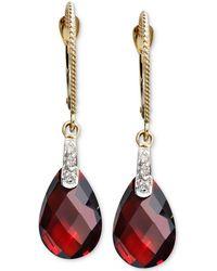 Macy's - 14k Gold Earrings, Garnet (7-1/5 Ct. T.w.) And Diamond Accent Brio Drop - Lyst