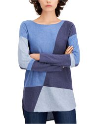 INC International Concepts Inc Colorblocked Shirttail Sweater, Regular & Petite Sizes, Created For Macy's - Blue