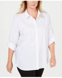 Calvin Klein - Plus Size Faux-pearl-stud Boyfriend Shirt - Lyst