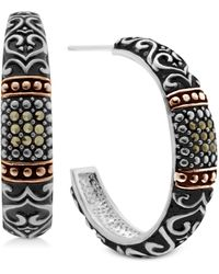 Macy's Marcasite Two-tone Scroll Design Medium Hoop Earrings - Metallic