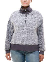 Derek Heart Trendy Plus Size Zip-neck Faux-sherpa Sweater - Gray