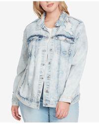 Jessica Simpson Trendy Plus Size Bleached Distressed Denim Jacket - Blue