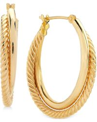 Macy's - Spiral And Polished Double Hoop Earrings In 14k Gold - Lyst