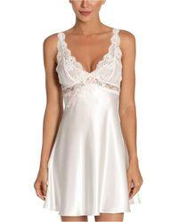 Linea Donatella Lace Charmeuse Chemise Nightgown - White
