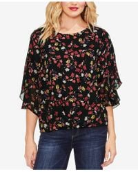 Vince Camuto - Ditsy-print Ruffle-sleeve Top - Lyst