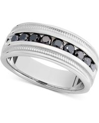 Macy's Men's Sterling Silver Ring, Black Diamond Band (1 Ct. T.w.) - Metallic