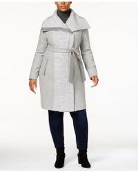 Vince Camuto - Plus Size Faux-leather-trim Walker Coat - Lyst