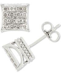 af7db015b Macy's Men's Diamond Square Cluster Stud Earrings (1/4 Ct. T.w.) In  Sterling Silver in Metallic - Lyst
