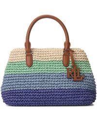 Lauren by Ralph Lauren Mini Marcy Ii Crochet-straw Satchel - Multicolour