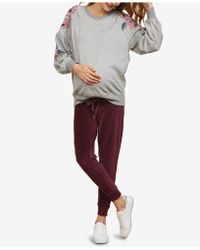 Jessica Simpson Maternity Under-belly Velour Jogger Pants - Red