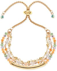 Style & Co. Gold-tone Curved Bar & Multi-bead Layered Slider Bracelet, Created For Macy's - Metallic