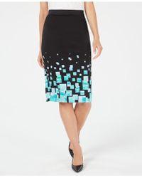 Alfani Printed Scuba Skirt, Created For Macy's - Black