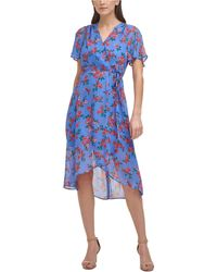 Vince Camuto Petite Floral-print Faux-wrap Midi Dress - Blue