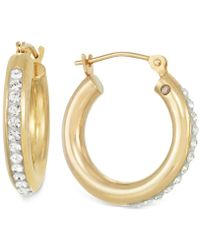 Signature Gold - Crystal Hoop Earrings In 14k Gold - Lyst