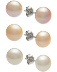 Macy's - 3-pc. Set White, Pink & Peach Cultured Freshwater Button Pearl (8mm) Stud Earrings In Sterling Silver - Lyst