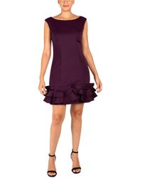 Donna Ricco Ruffled-hem Bodycon Dress - Purple