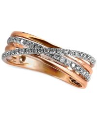 Effy Collection | Diamond Pave Crossover Ring (1/4 Ct. T.w.) In 14k Rose Gold | Lyst
